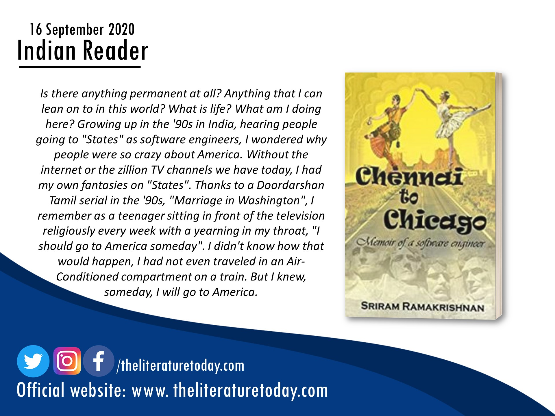 Book Review – CHENNAI TO CHICAGO – The Literature Today