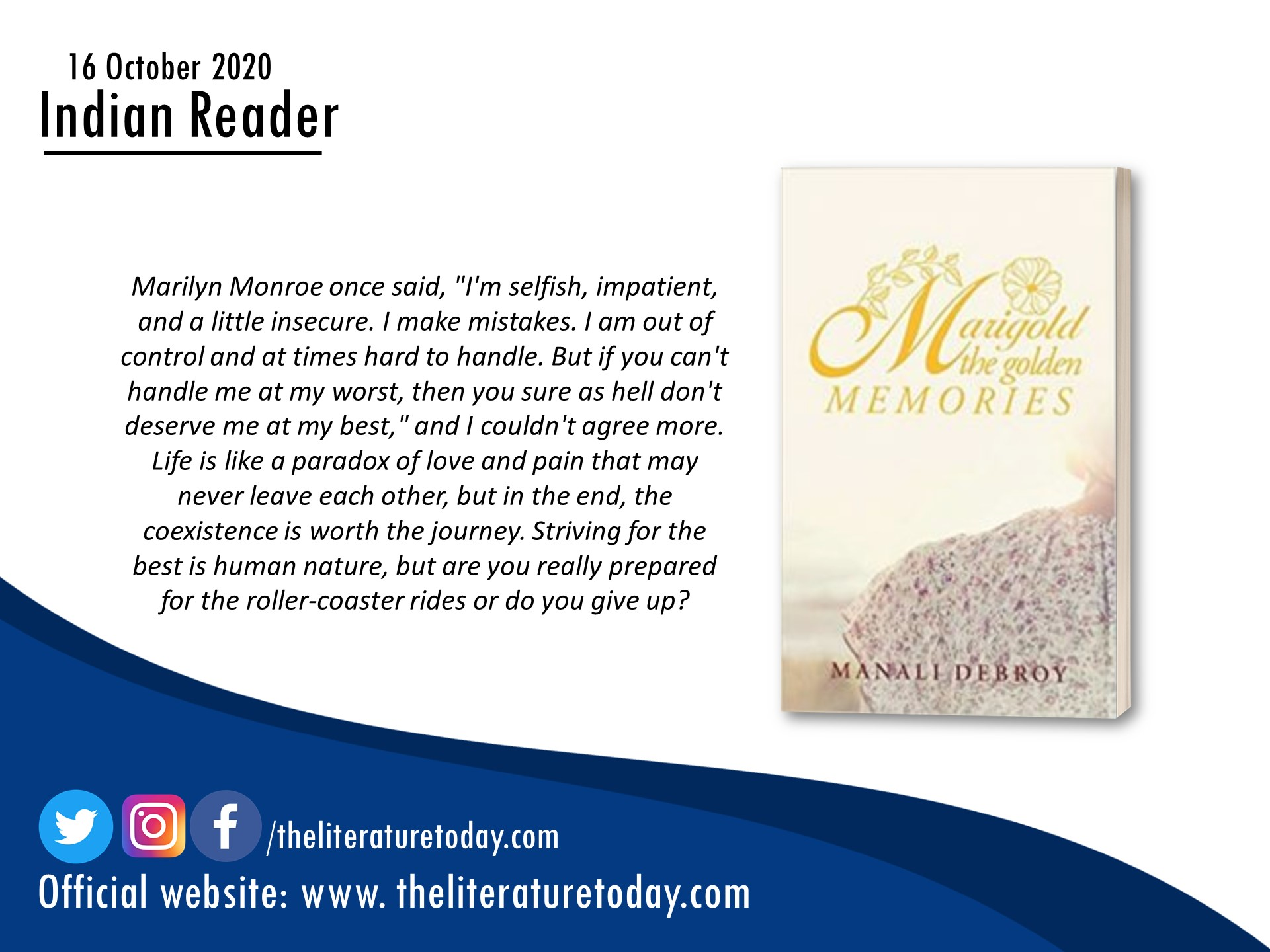 Book Review – Marigold: The Golden Memories by Manali Debroy –  The Literature Today