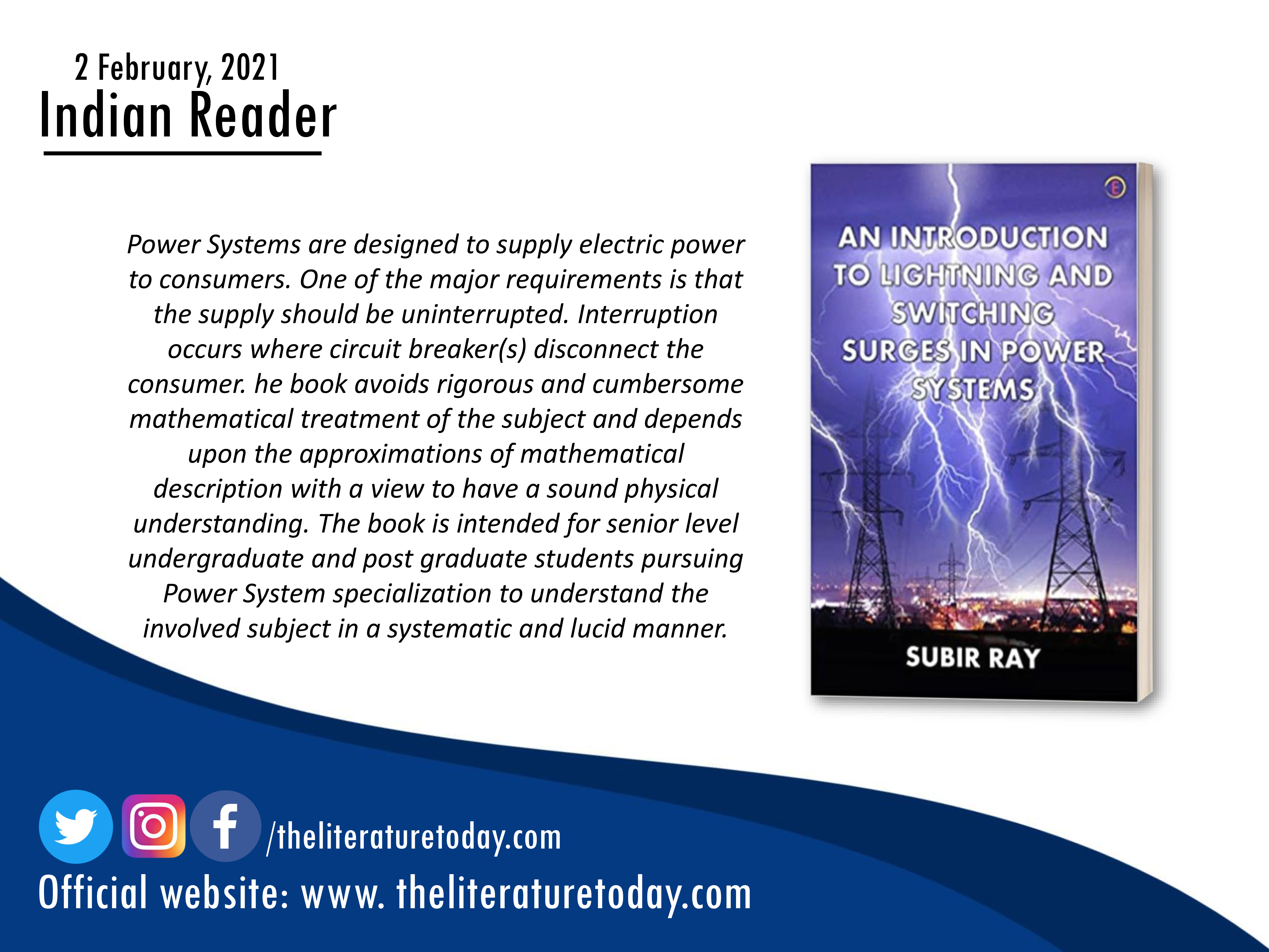 Book Review | An Introduction To Lightning And Switching Surges In Power Systems|The Literature Today