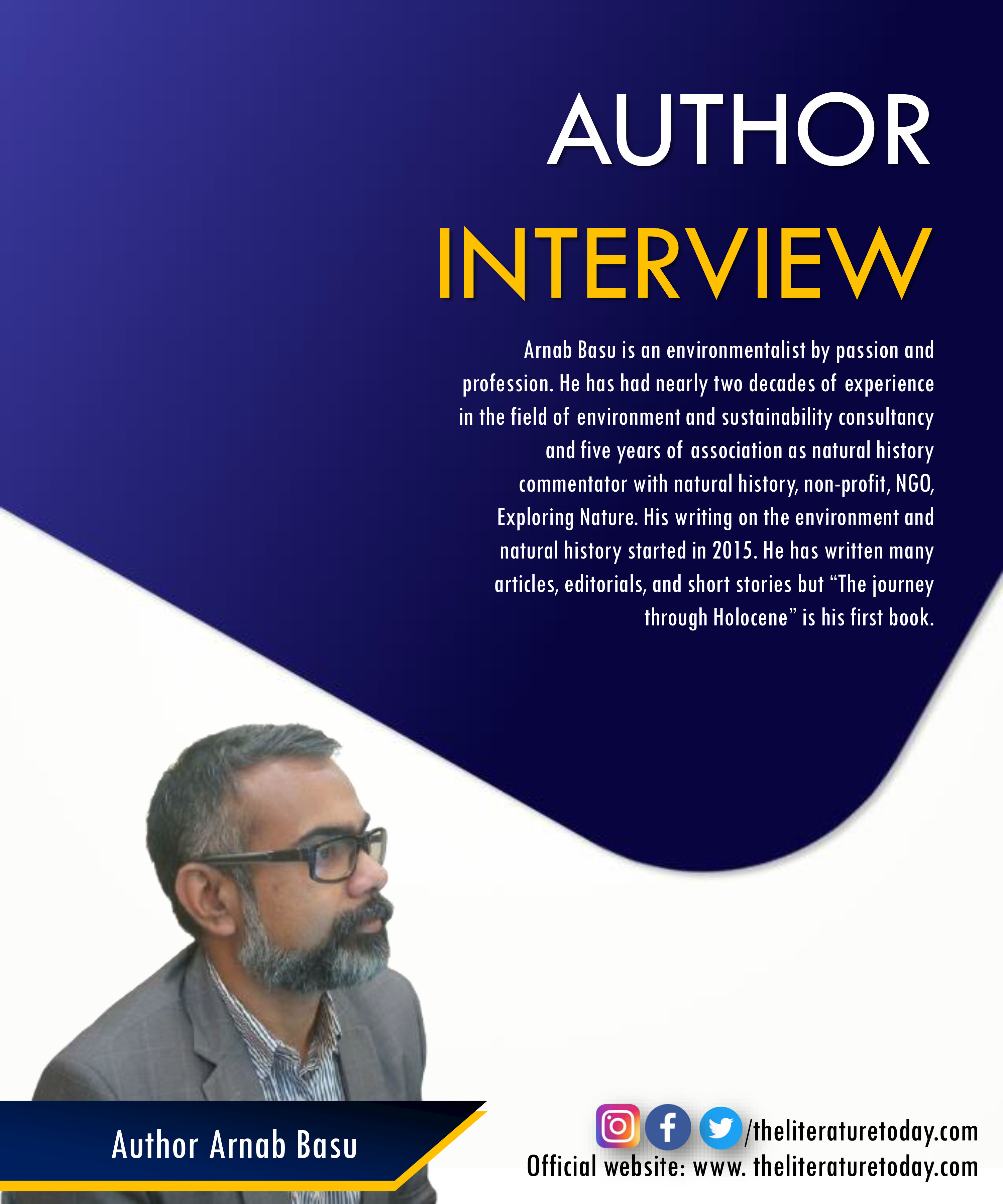 An Interview with Author Arnab Basu at The Literature Today