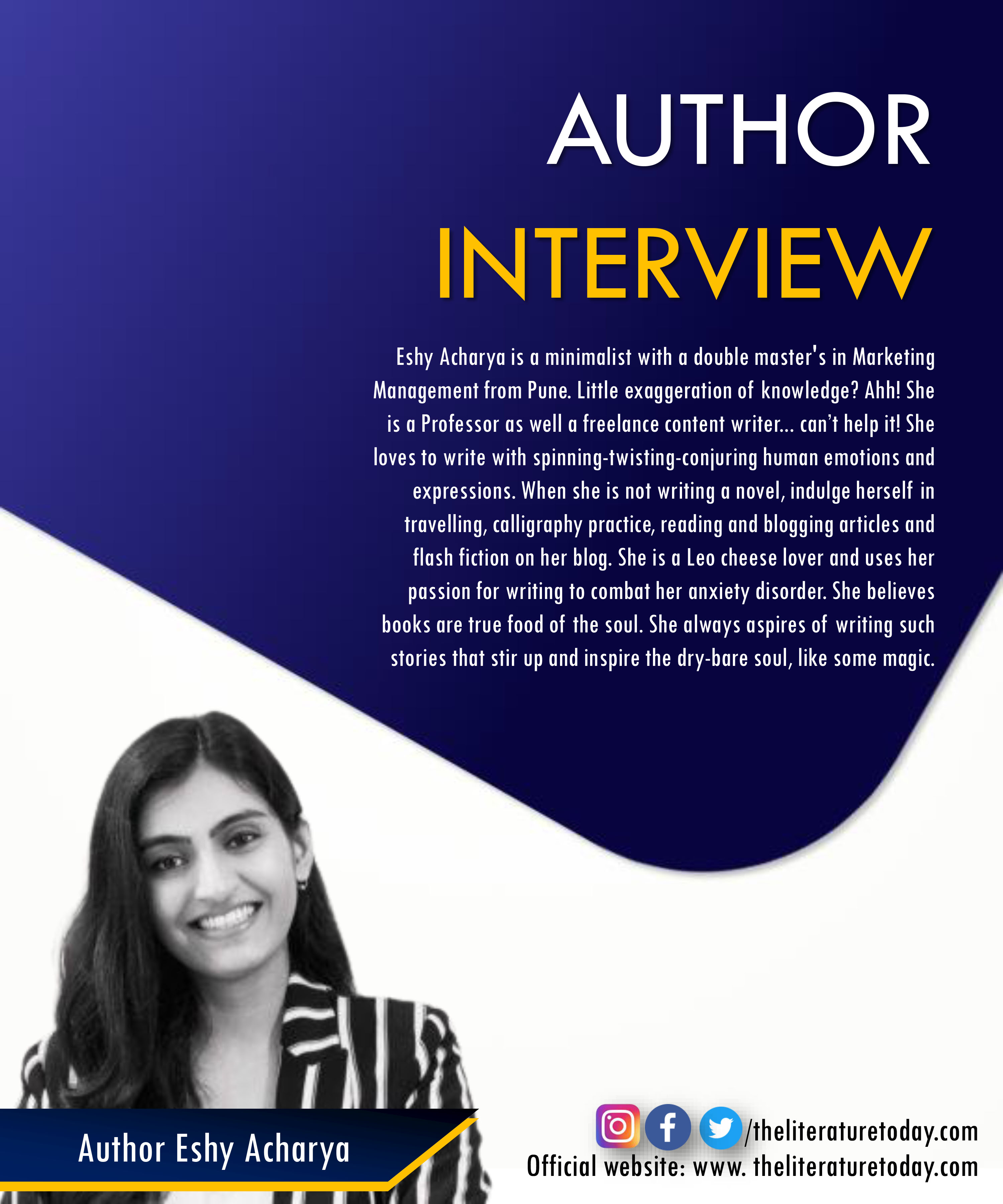 Interview with Author Eshy Acharya | The Literature Today